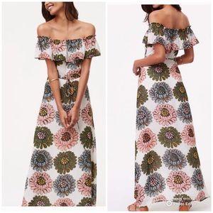 Loft Marigold Maxi Dress Ruffle Shoulder